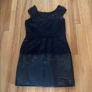 Dresses - Leather and lace black dress